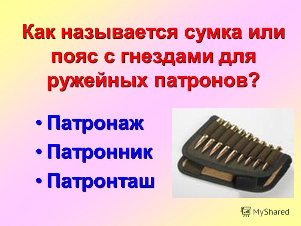 Как называется сумка или пояс с гнездами для ружейных патронов? Патронаж Патронаж Патронник Патронник Патронташ Патронташ