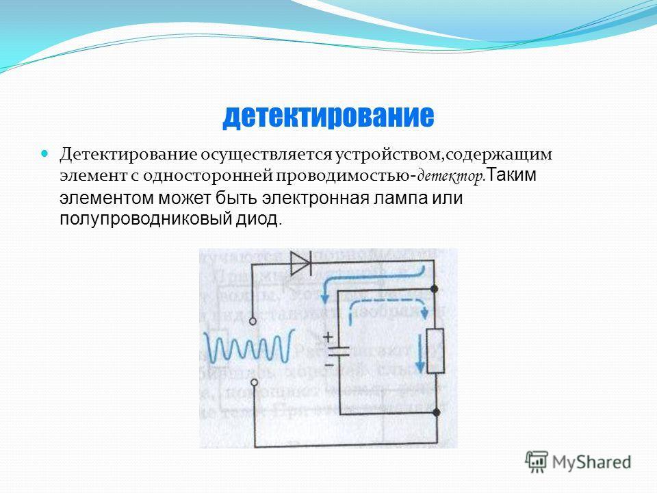детектирование Детектирование осуществляется устройством,содержащим элемент с односторонней проводимостью- детектор. Таким элементом может быть электронная лампа или полупроводниковый диод.