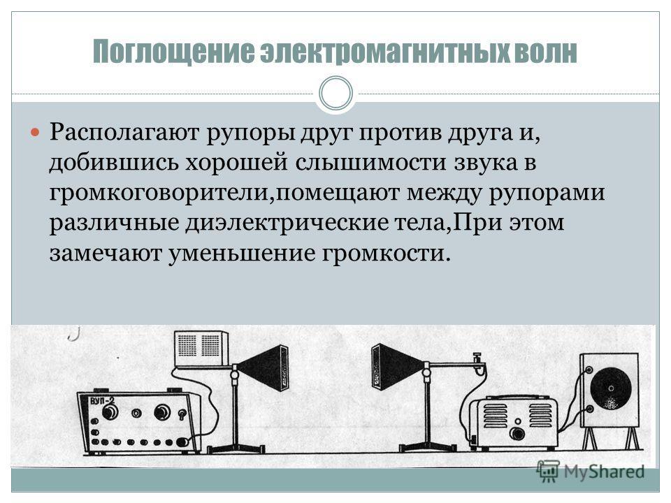 Поглощение электромагнитных волн Располагают рупоры друг против друга и, добившись хорошей слышимости звука в громкоговорители,помещают между рупорами различные диэлектрические тела,При этом замечают уменьшение громкости.