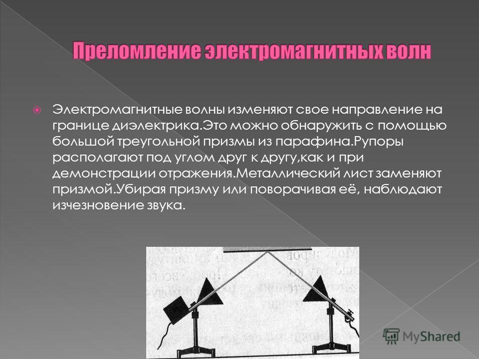 Электромагнитные волны изменяют свое направление на границе диэлектрика.Это можно обнаружить с помощью большой треугольной призмы из парафина.Рупоры располагают под углом друг к другу,как и при демонстрации отражения.Металлический лист заменяют призм