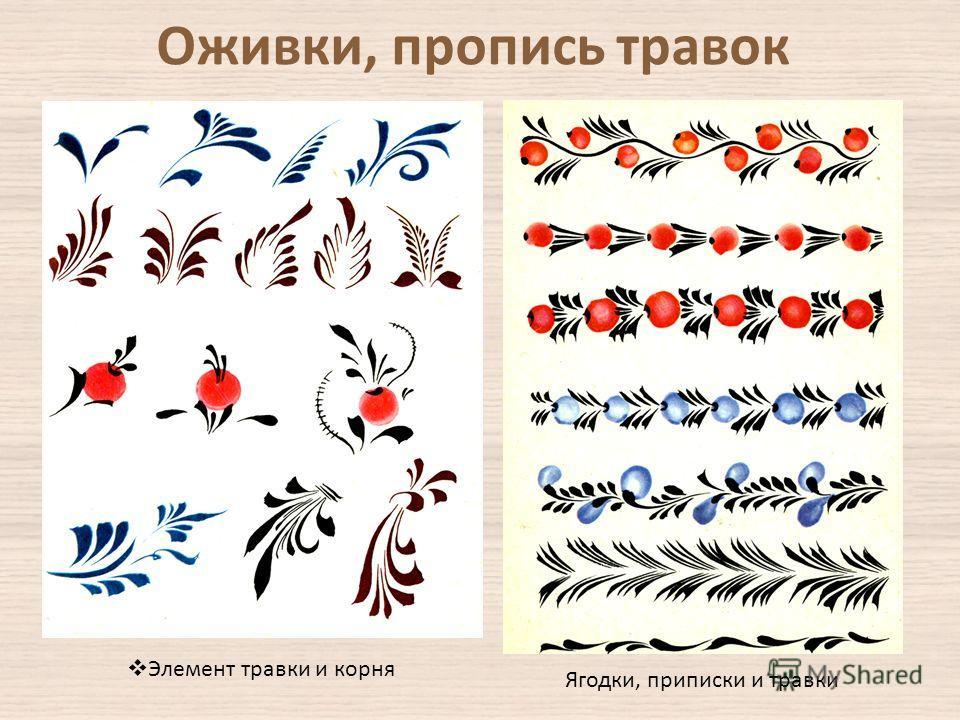Элемент травки и корня Ягодки, приписки и травки Оживки, пропись травок