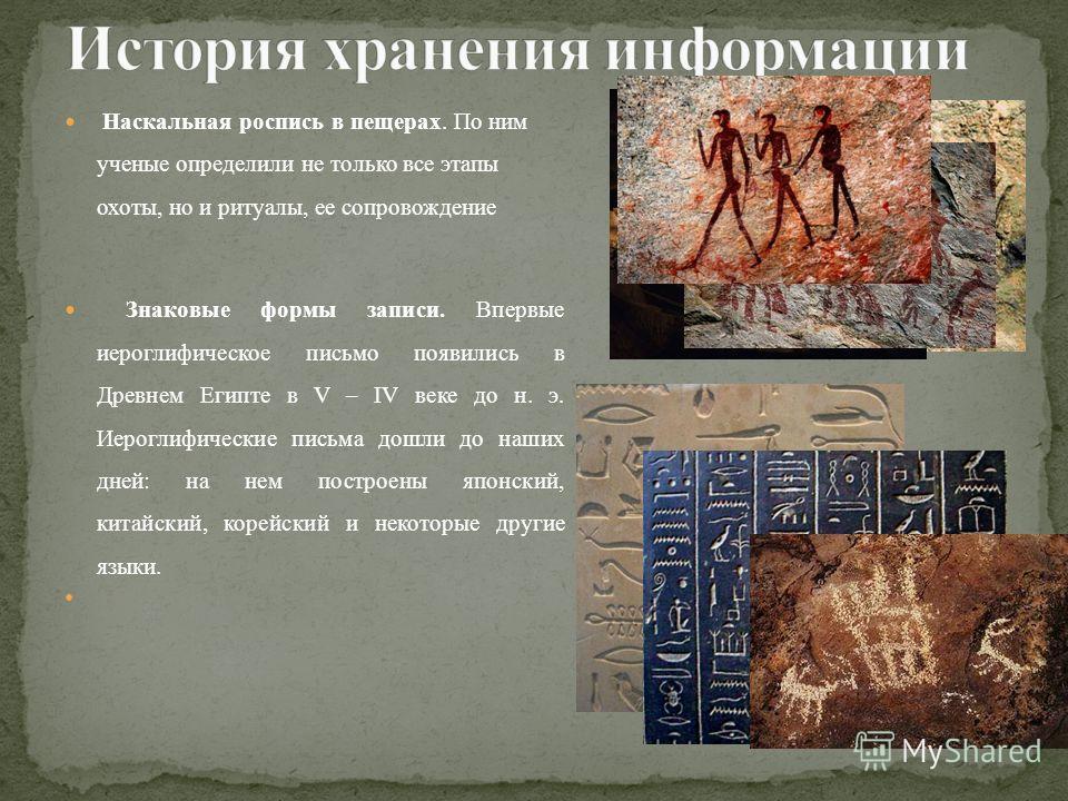 Наскальная роспись в пещерах. По ним ученые определили не только все этапы охоты, но и ритуалы, ее сопровождение Знаковые формы записи. Впервые иероглифическое письмо появились в Древнем Египте в V – IV веке до н. э. Иероглифические письма дошли до н