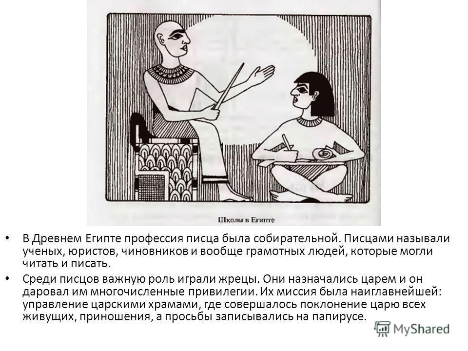 В Древнем Египте профессия писца была собирательной. Писцами называли ученых, юристов, чиновников и вообще грамотных людей, которые могли читать и писать. Среди писцов важную роль играли жрецы. Они назначались царем и он даровал им многочисленные при