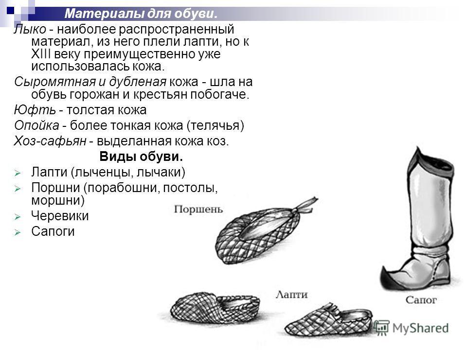 Материалы для обуви. Лыко - наиболее распространенный материал, из него плели лапти, но к XIII веку преимущественно уже использовалась кожа. Сыромятная и дубленая кожа - шла на обувь горожан и крестьян побогаче. Юфть - толстая кожа Опойка - более тон