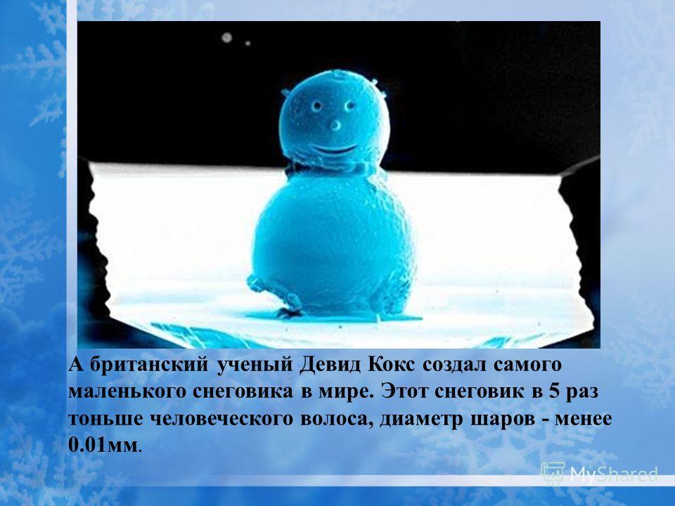 А британский ученый Девид Кокс создал самого маленького снеговика в мире. Этот снеговик в 5 раз тоньше человеческого волоса, диаметр шаров - менее 0.01 мм.