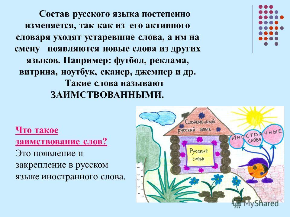 Состав русского языка постепенно изменяется, так как из его активного словаря уходят устаревшие слова, а им на смену появляются новые слова из других языков. Например: футбол, реклама, витрина, ноутбук, сканер, джемпер и др. Такие слова называют ЗАИМ