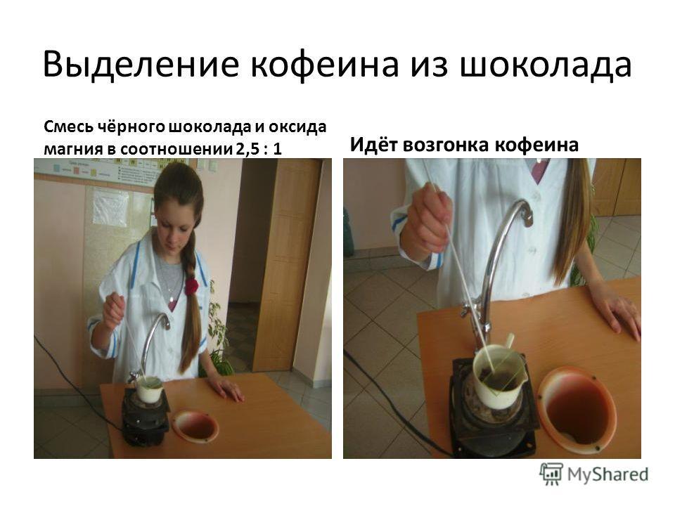 Выделение кофеина из шоколада Смесь чёрного шоколада и оксида магния в соотношении 2,5 : 1 Идёт возгонка кофеина