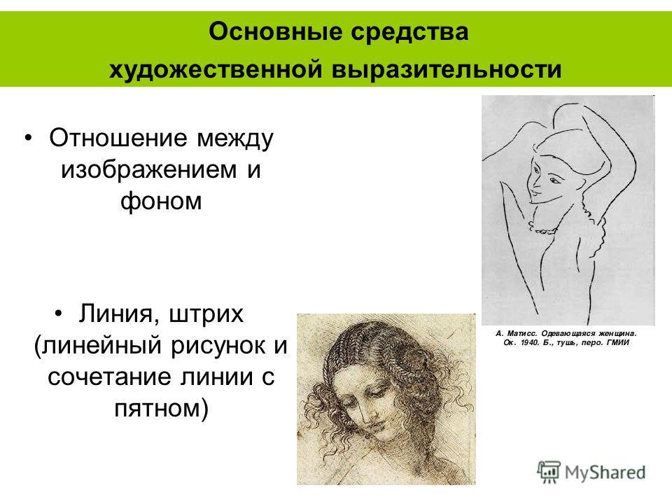 Отношение между изображением и фоном Линия, штрих (линейный рисунок и сочетание линии с пятном) Основные средства художественной выразительности