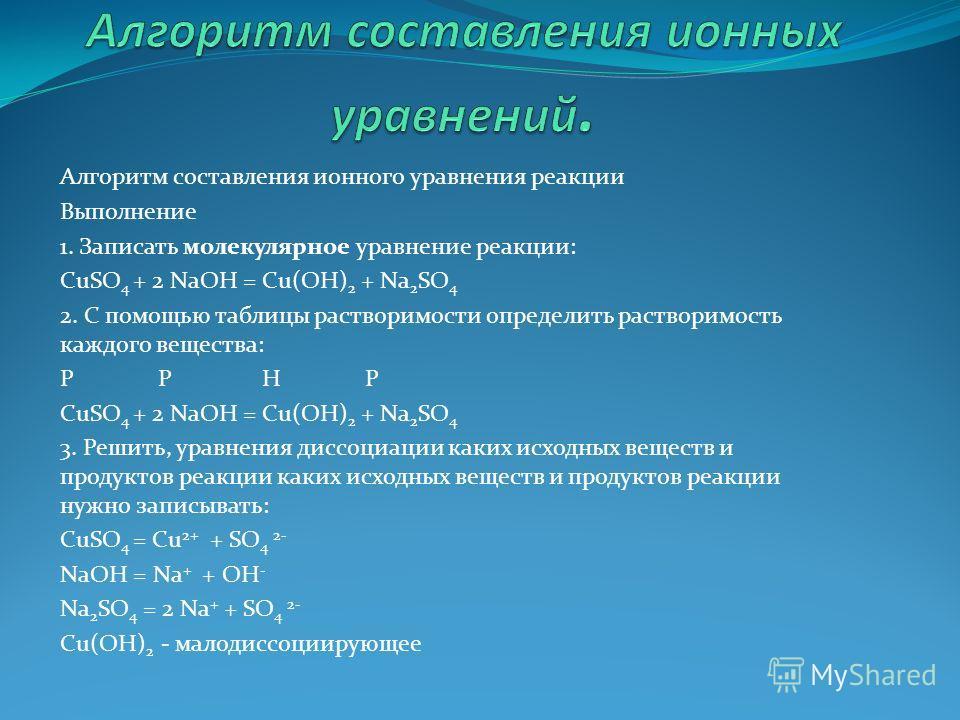 Алгоритм составления ионного уравнения реакции Выполнение 1. Записать молекулярное уравнение реакции: CuSO 4 + 2 NaOH = Cu(OH) 2 + Na 2 SO 4 2. С помощью таблицы растворимости определить растворимость каждого вещества: P P H P CuSO 4 + 2 NaOH = Cu(OH