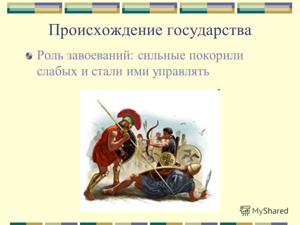 Происхождение государства Роль завоеваний: сильные покорили слабых и стали ими управлять