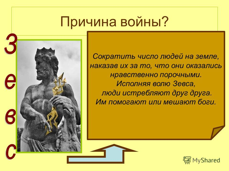 Причина войны? Сократить число людей на земле, наказав их за то, что они оказались нравственно порочными. Исполняя волю Зевса, люди истребляют друг друга. Им помогают или мешают боги.