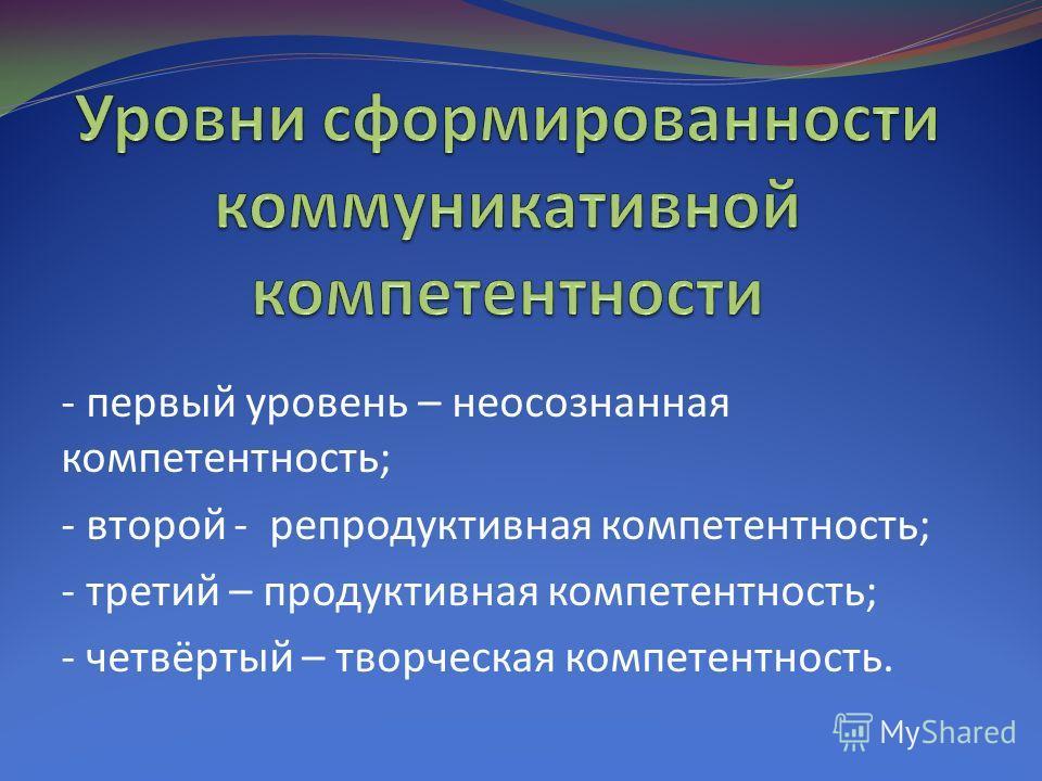- первый уровень – неосознанная компетентность; - второй - репродуктивная компетентность; - третий – продуктивная компетентность; - четвёртый – творческая компетентность.