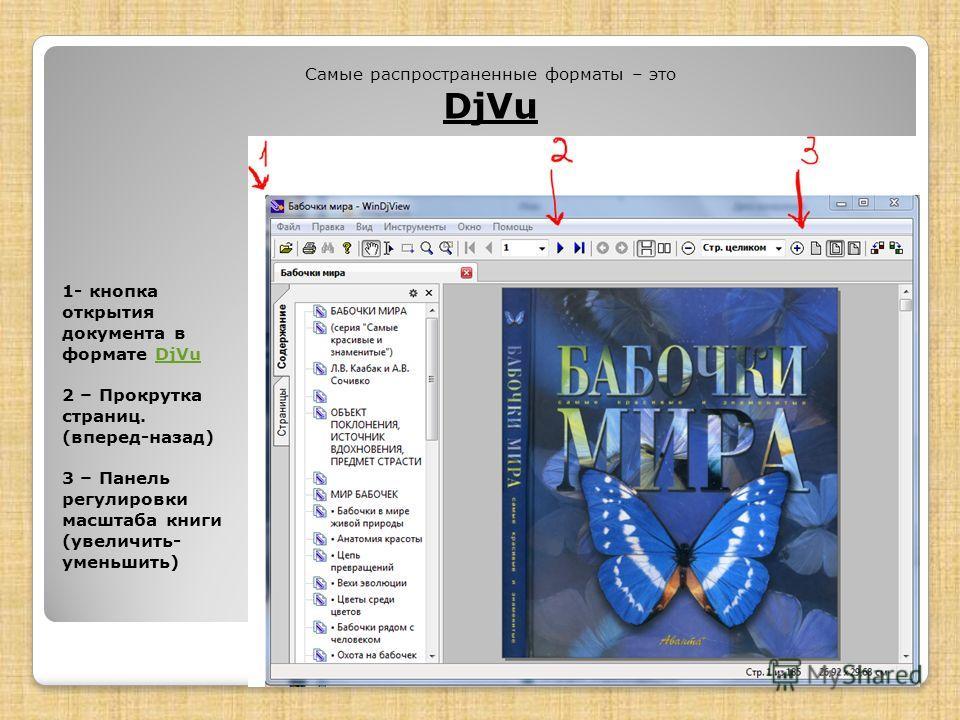 1- кнопка открытия документа в формате DjVu 2 – Прокрутка страниц. (вперед-назад) 3 – Панель регулировки масштаба книги (увеличить- уменьшить)DjVu Самые распространенные форматы – это DjVu