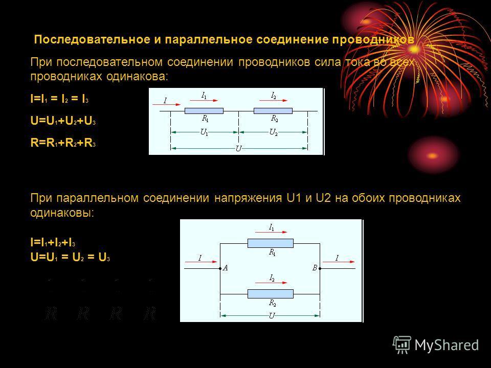 Последовательное и параллельное соединение проводников При последовательном соединении проводников сила тока во всех проводниках одинакова: I=I 1 = I 2 = I 3 U=U 1 +U 2 +U 3 R=R 1 +R 2 +R 3 При параллельном соединении напряжения U1 и U2 на обоих пров