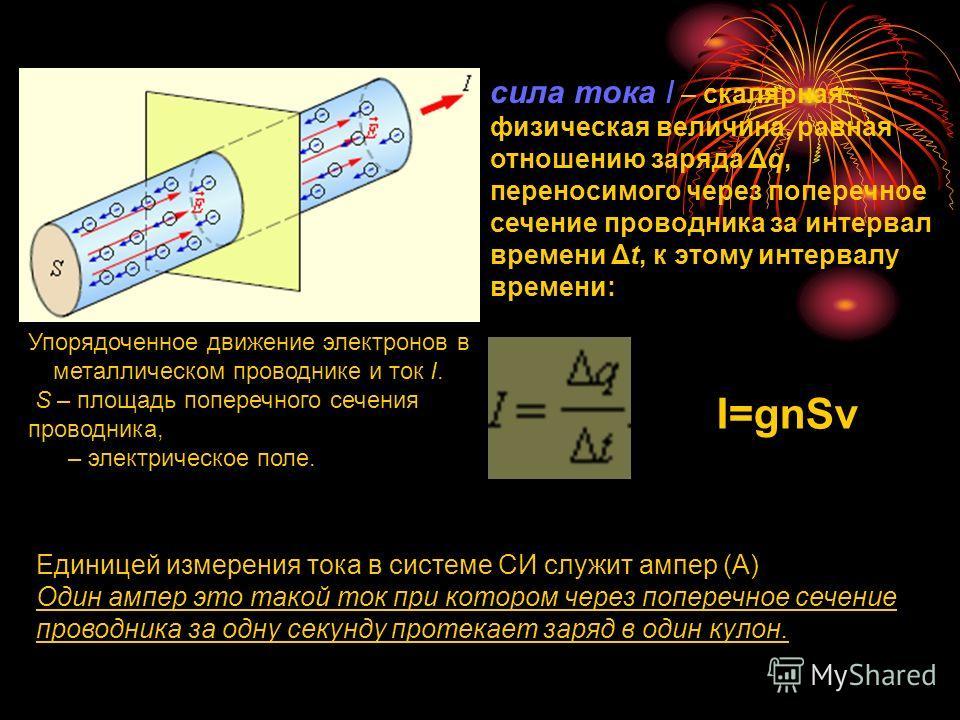 Упорядоченное движение электронов в металлическом проводнике и ток I. S – площадь поперечного сечения проводника, – электрическое поле. сила тока I – скалярная физическая величина, равная отношению заряда Δq, переносимого через поперечное сечение про