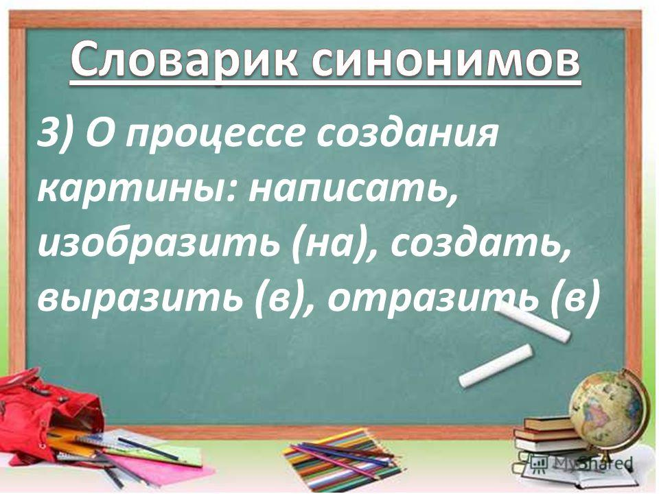 3) О процессе создания картины: написать, изобразить (на), создать, выразить (в), отразить (в)