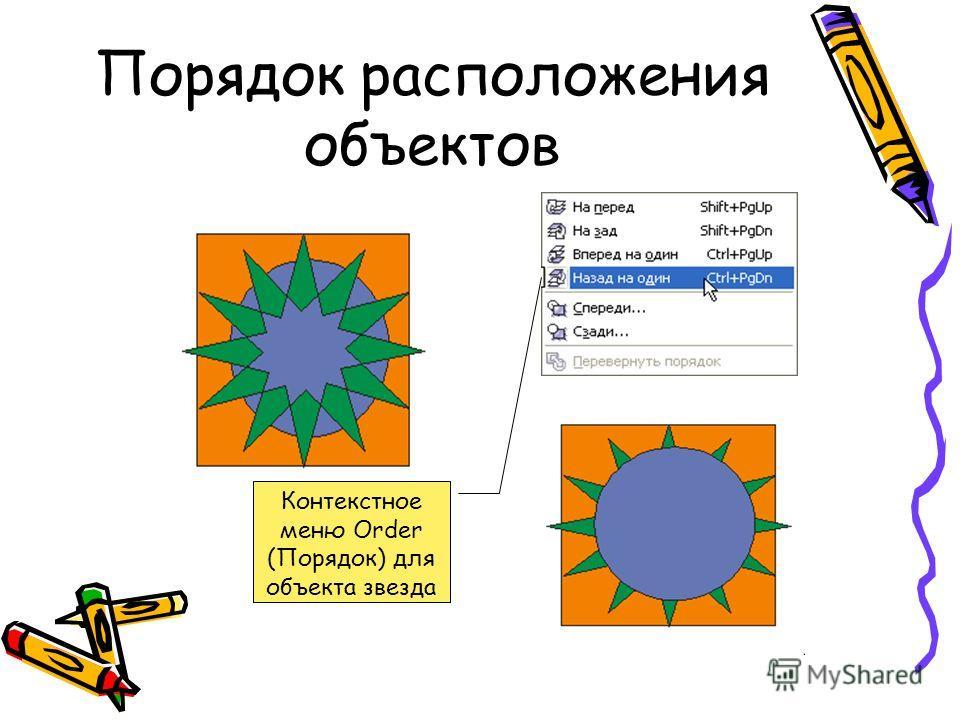 Порядок расположения объектов Контекстное меню Order (Порядок) для объекта звезда