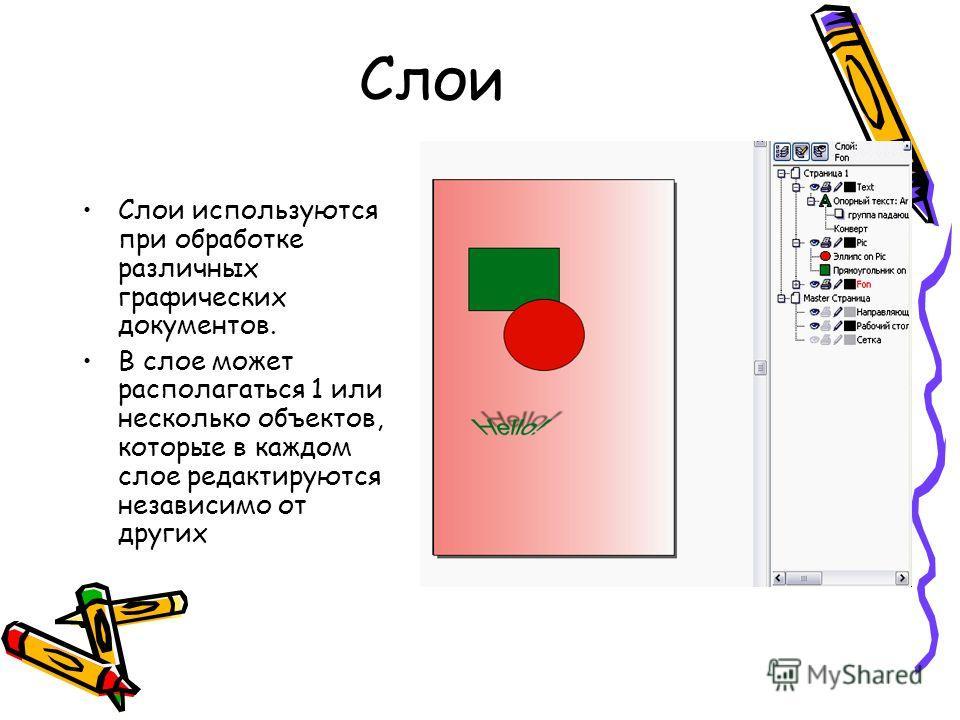 Слои Слои используются при обработке различных графических документов. В слое может располагаться 1 или несколько объектов, которые в каждом слое редактируются независимо от других