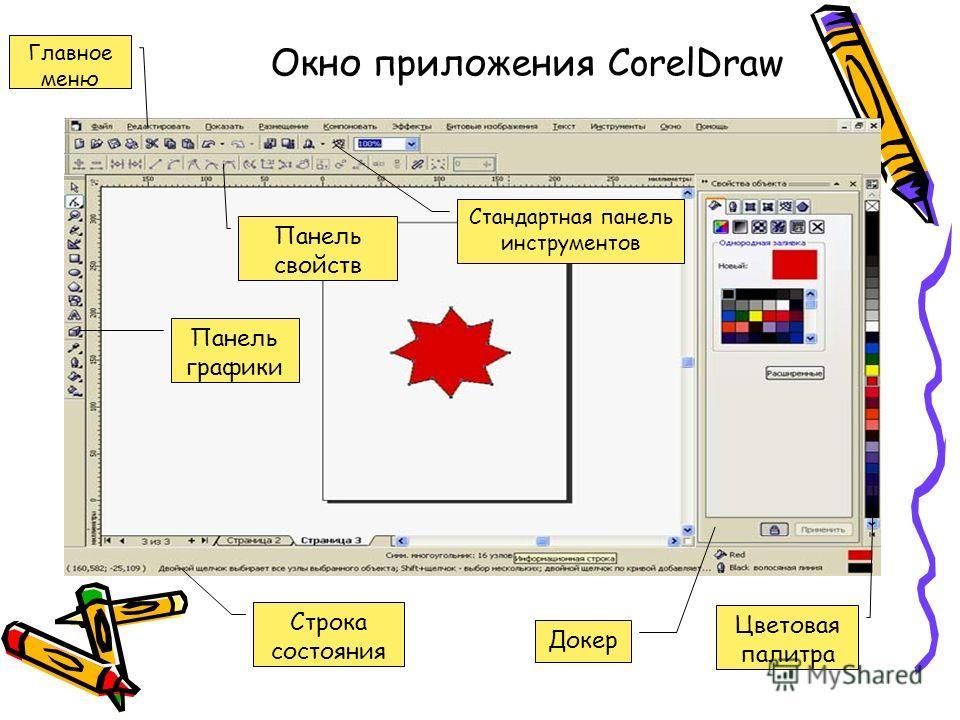 Окно приложения CorelDraw Главное меню Строка состояния Панель графики Панель свойств Стандартная панель инструментов Докер Цветовая палитра