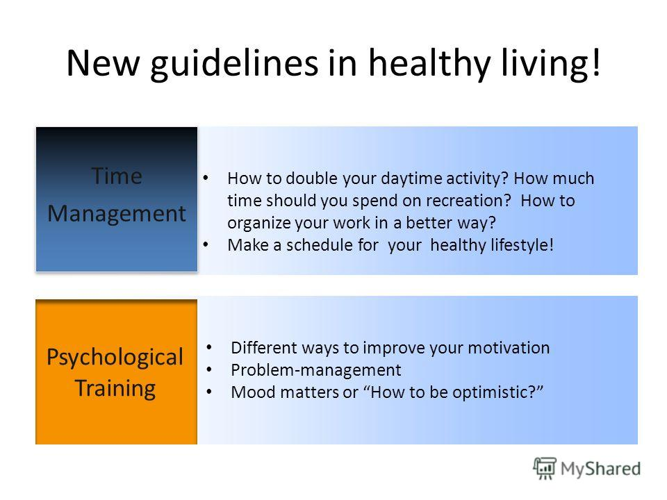 New guidelines in healthy living! Time Management Psychological Training How to double your daytime activity? How much time should you spend on recreation? How to organize your work in a better way? Make a schedule for your healthy lifestyle! Differe
