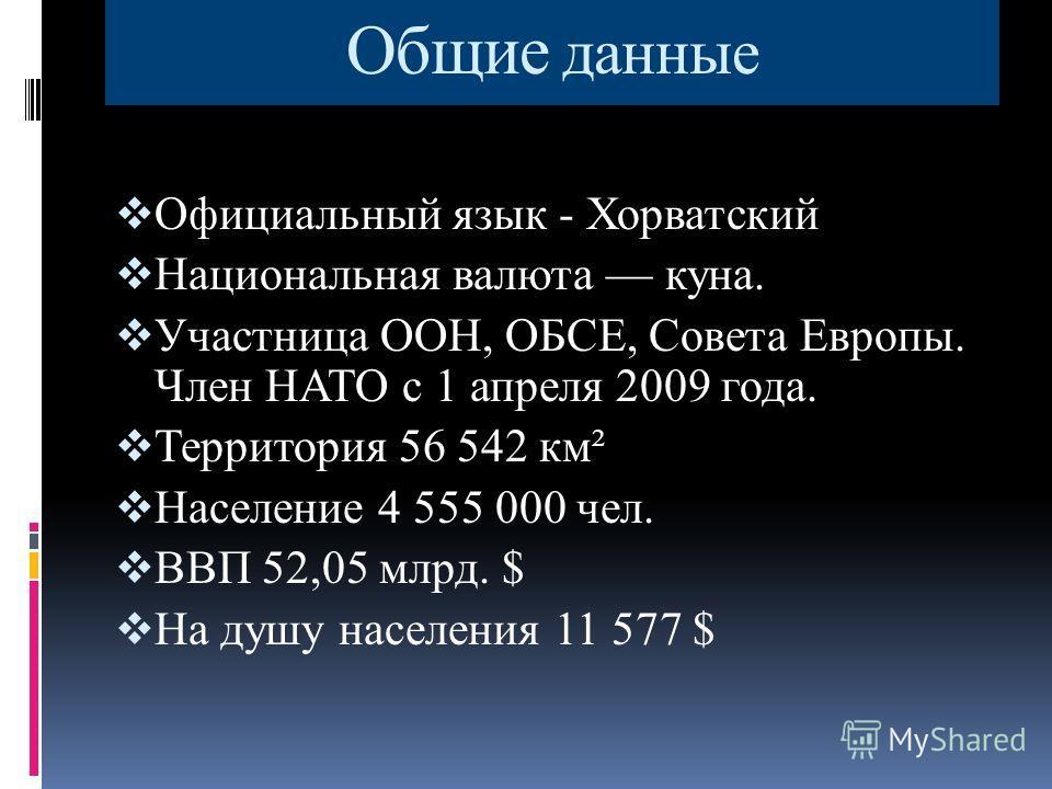 Общие данные Официальный язык - Хорватский Национальная валюта куна. Участница ООН, ОБСЕ, Совета Европы. Член НАТО с 1 апреля 2009 года. Территория 56 542 км² Население 4 555 000 чел. ВВП 52,05 млрд. $ На душу населения 11 577 $
