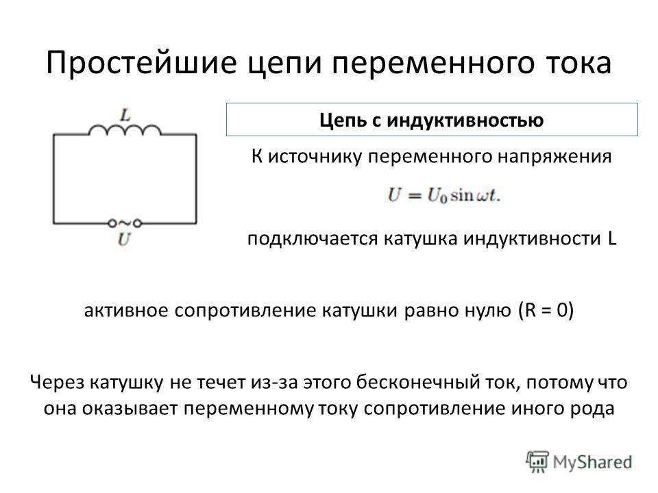 Простейшие цепи переменного тока Цепь с индуктивностью К источнику переменного напряжения подключается катушка индуктивности L активное сопротивление катушки равно нулю (R = 0) Через катушку не течет из-за этого бесконечный ток, потому что она оказыв