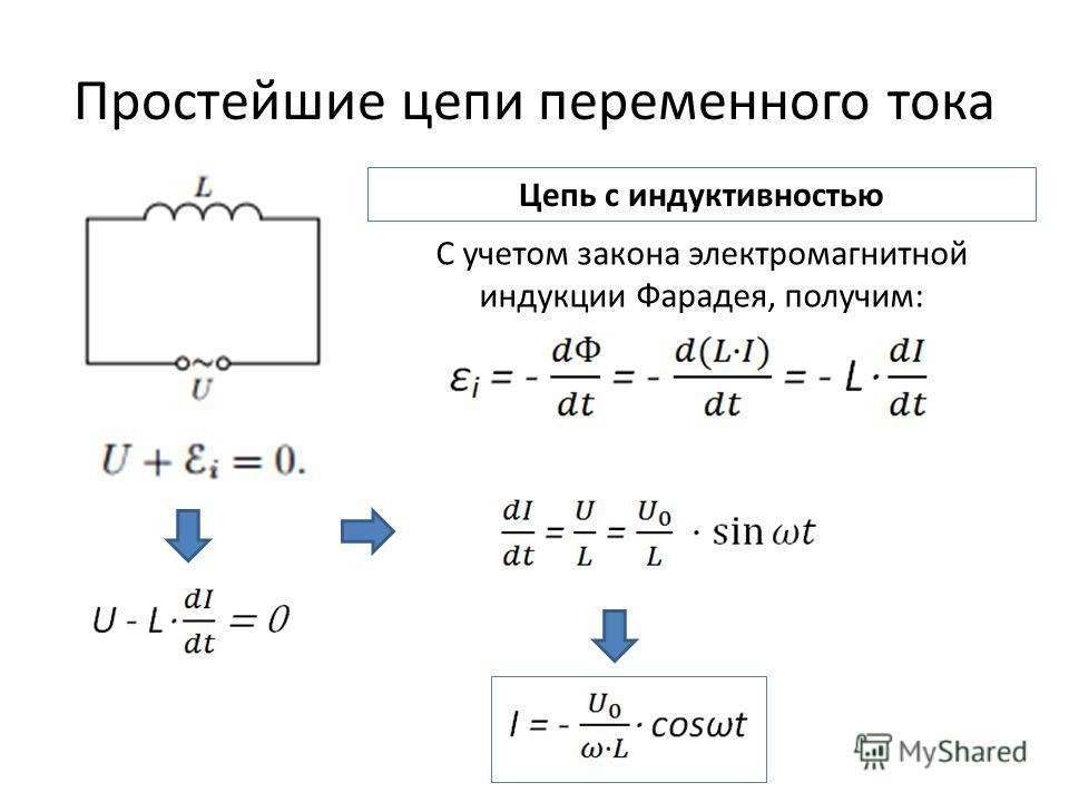 Простейшие цепи переменного тока Цепь с индуктивностью С учетом закона электромагнитной индукции Фарадея, получим: