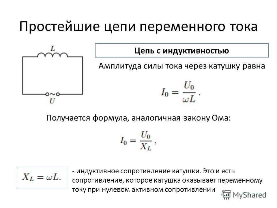 Простейшие цепи переменного тока Цепь с индуктивностью Амплитуда силы тока через катушку равна Получается формула, аналогичная закону Ома: - индуктивное сопротивление катушки. Это и есть сопротивление, которое катушка оказывает переменному току при н