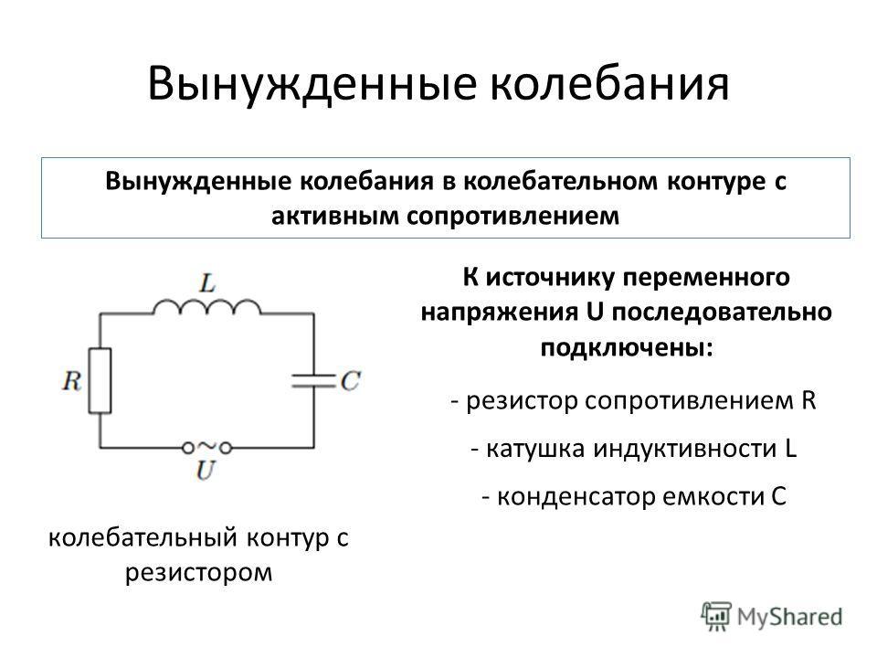 Вынужденные колебания Вынужденные колебания в колебательном контуре с активным сопротивлением К источнику переменного напряжения U последовательно подключены: - резистор сопротивлением R - катушка индуктивности L - конденсатор емкости С колебательный