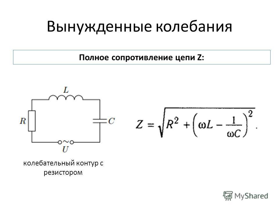Вынужденные колебания Полное сопротивление цепи Z: колебательный контур с резистором