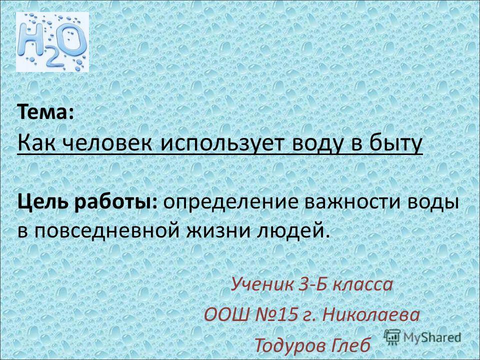 Тема: Как человек использует воду в быту Цель работы: определение важности воды в повседневной жизни людей. Ученик 3-Б класса ООШ 15 г. Николаева Тодуров Глеб