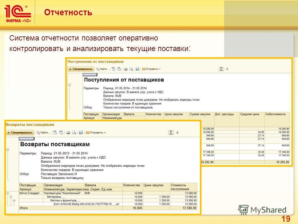 19 Отчетность Система отчетности позволяет оперативно контролировать и анализировать текущие поставки :