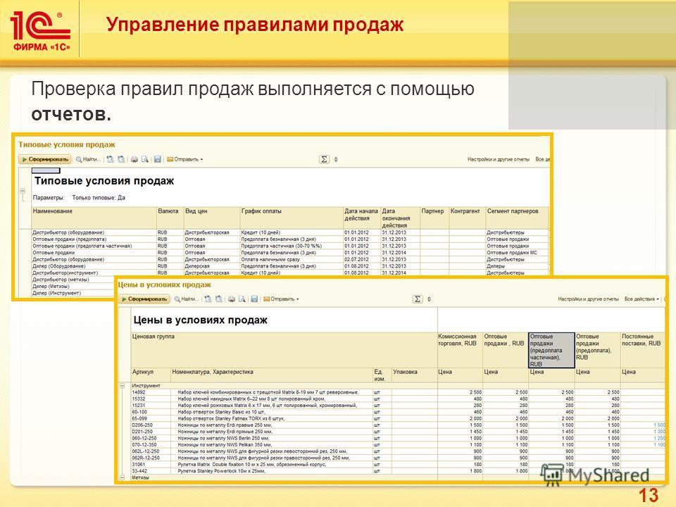 13 Управление правилами продаж Проверка правил продаж выполняется с помощью отчетов.