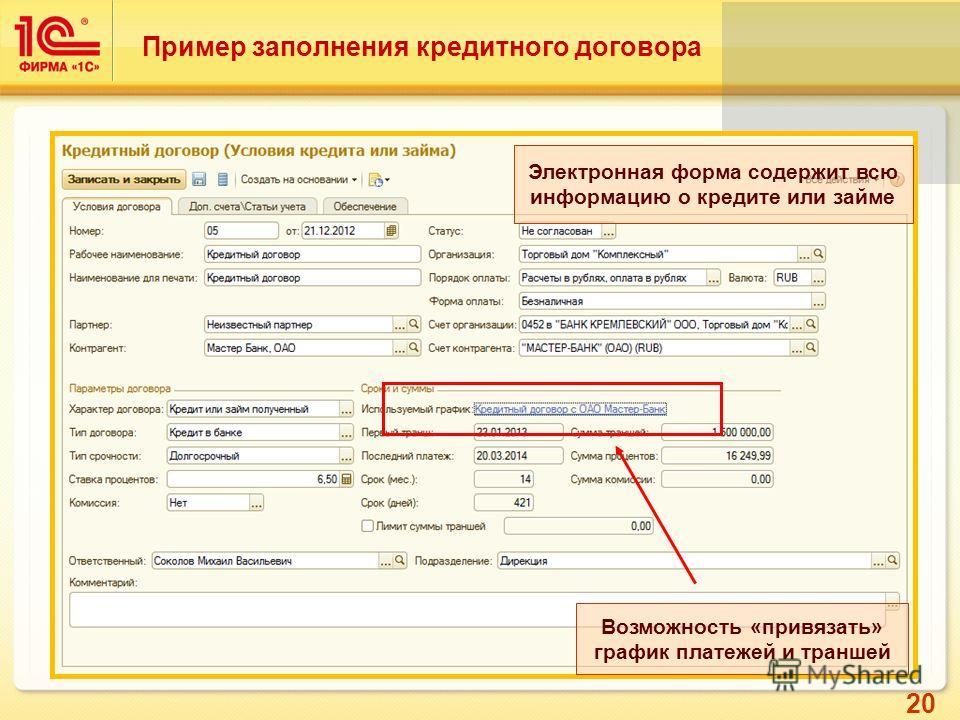 20 Возможность «привязать» график платежей и траншей Электронная форма содержит всю информацию о кредите или займе Пример заполнения кредитного договора
