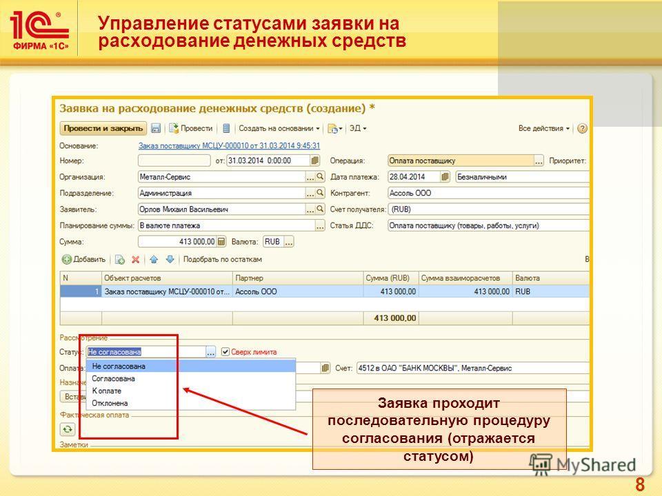 8 Заявка проходит последовательную процедуру согласования (отражается статусом) Управление статусами заявки на расходование денежных средств