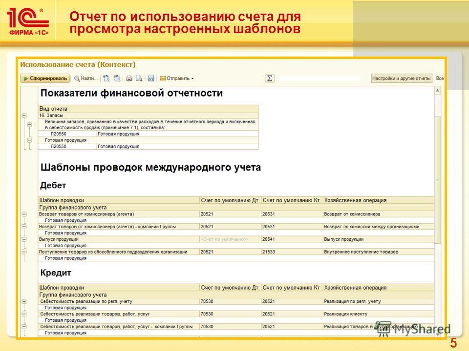 5 Отчет по использованию счета для просмотра настроенных шаблонов