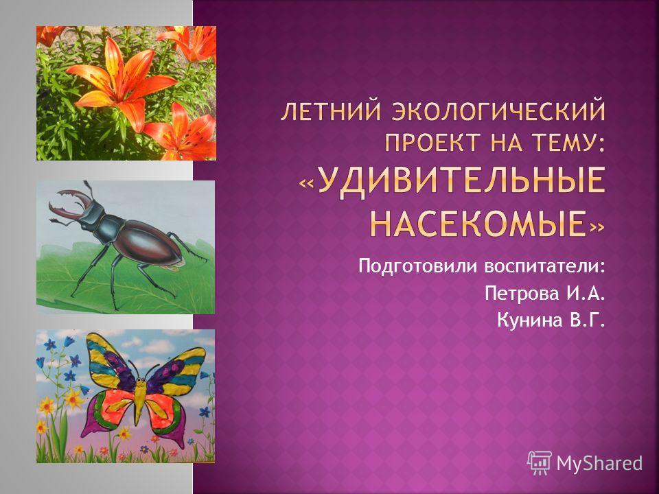 Подготовили воспитатели: Петрова И.А. Кунина В.Г.