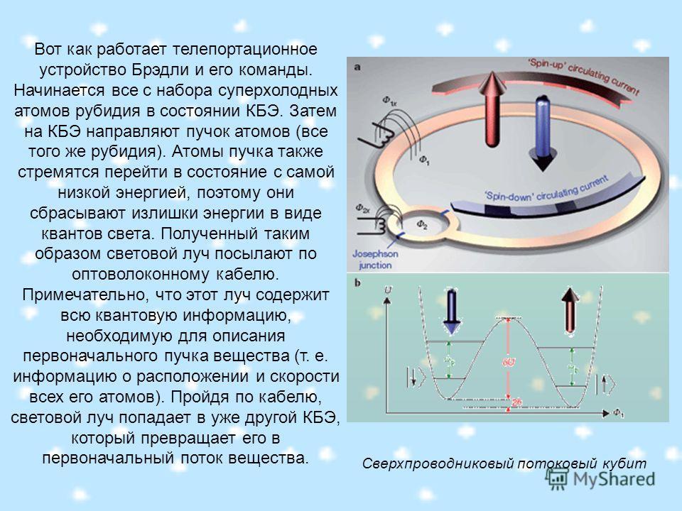 Вот как работает телепортационное устройство Брэдли и его команды. Начинается все с набора суперхолодных атомов рубидия в состоянии КБЭ. Затем на КБЭ направляют пучок атомов (все того же рубидия). Атомы пучка также стремятся перейти в состояние с сам