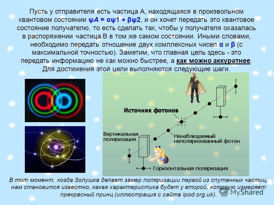 Пусть у отправителя есть частица А, находящаяся в произвольном квантовом состоянии ψA = αψ1 + βψ2, и он хочет передать это квантовое состояние получателю, то есть сделать так, чтобы у получателя оказалась в распоряжении частица B в том же самом состо