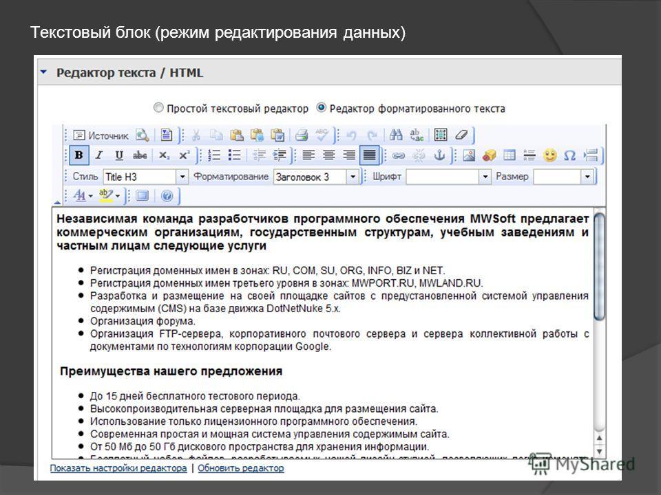 Текстовый блок (режим редактирования данных)