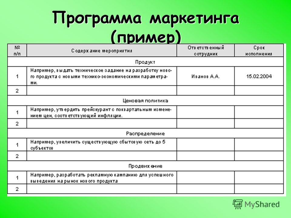 Программа маркетинга (пример)