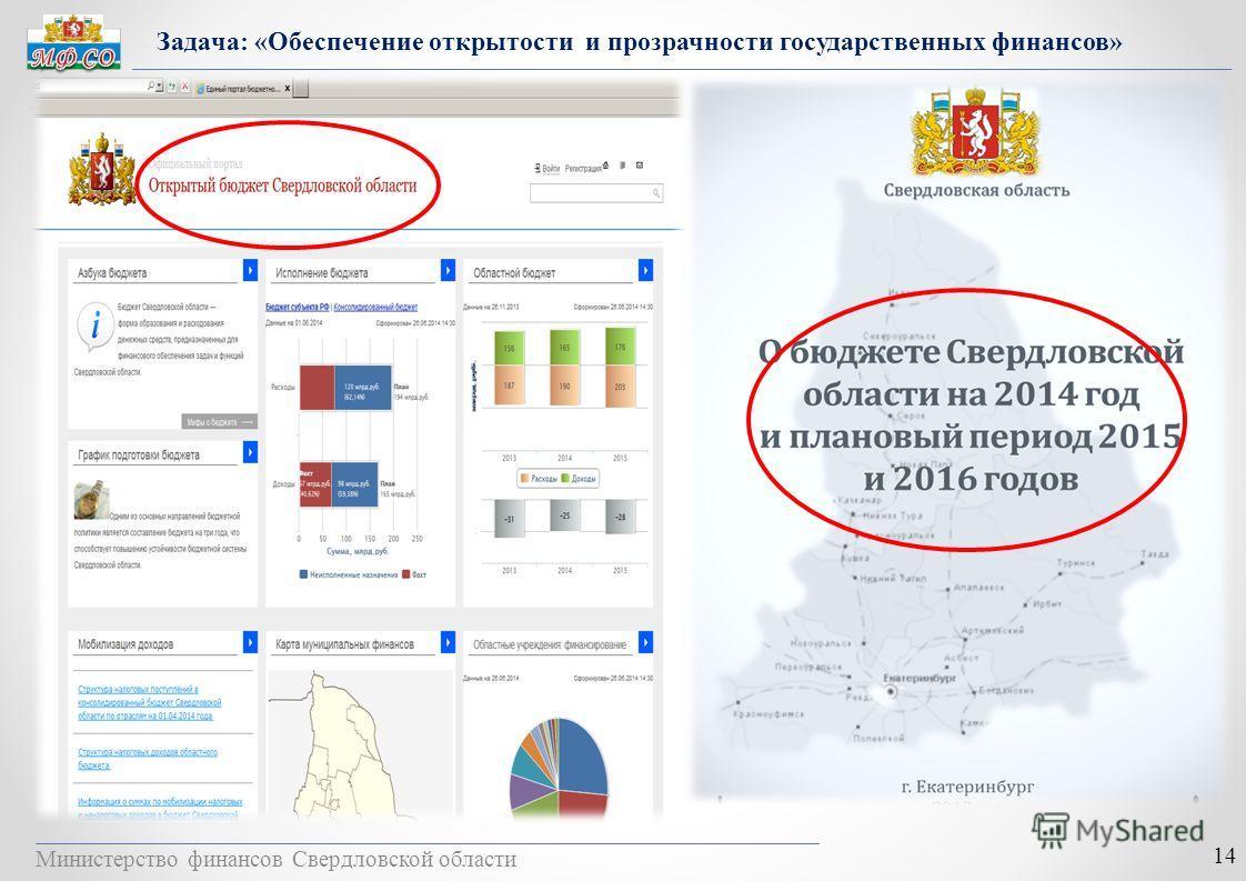 Министерство финансов Свердловской области 14 Задача: «Обеспечение открытости и прозрачности государственных финансов»