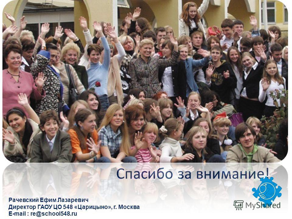 Рачевский Ефим Лазаревич Директор ГАОУ ЦО 548 «Царицыно», г. Москва E-mail : re@school548. ru Спасибо за внимание!