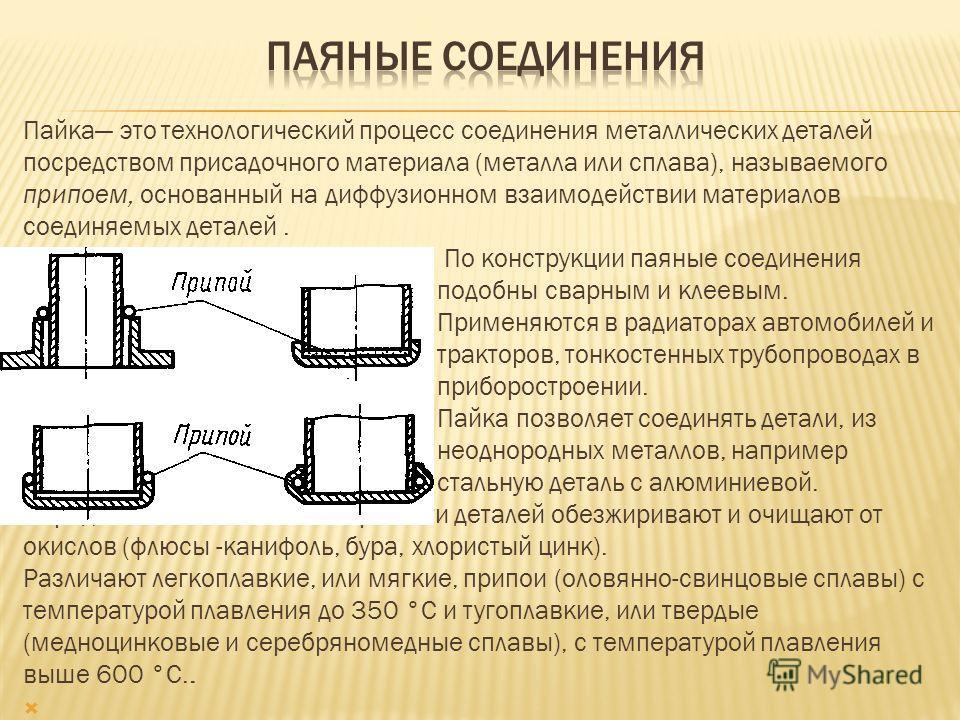 Пайка это технологический процесс соединения металлических деталей посредством присадочного материала (металла или сплава), называемого припоем, основанный на диффузионном взаимодействии материалов соединяемых деталей. По конструкции паяные соединени