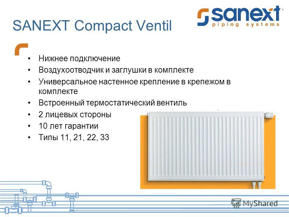 SANEXT Compact Ventil Нижнее подключение Воздухоотводчик и заглушки в комплекте Универсальное настенное крепление в крепежом в комплекте Встроенный термостатический вентиль 2 лицевых стороны 10 лет гарантии Типы 11, 21, 22, 33