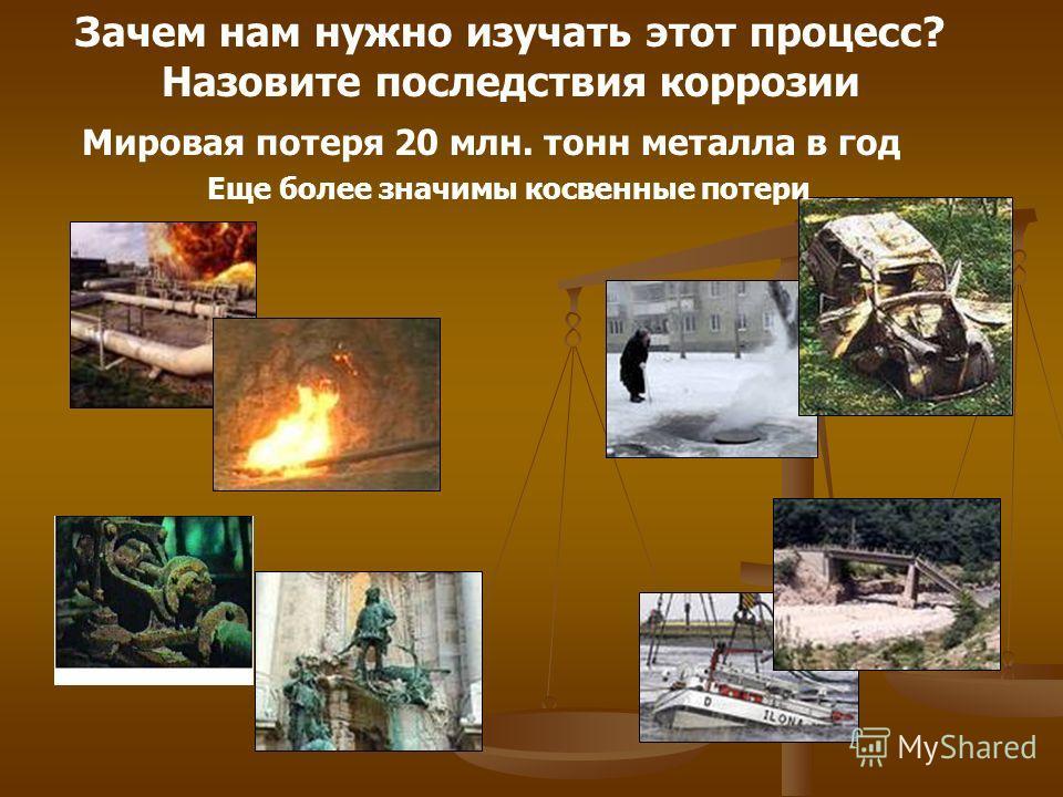 Зачем нам нужно изучать этот процесс? Назовите последствия коррозии Мировая потеря 20 млн. тонн металла в год Еще более значимы косвенные потери