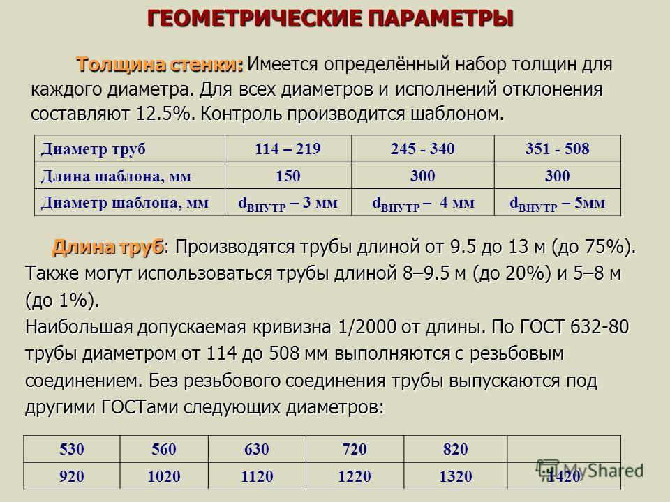 Толщина стенки: Для всех диаметров и исполнений отклонения составляют 12.5%. Контроль производится шаблоном. Толщина стенки: Имеется определённый набор толщин для каждого диаметра. Для всех диаметров и исполнений отклонения составляют 12.5%. Контроль