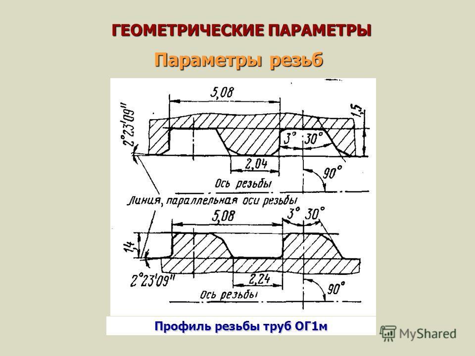 ГЕОМЕТРИЧЕСКИЕ ПАРАМЕТРЫ Параметры резьб Профиль резьбы труб ОГ1 м