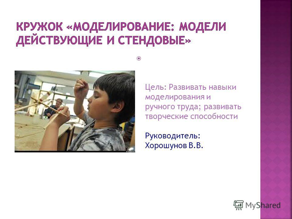 Цель: Развивать навыки моделирования и ручного труда; развивать творческие способности Руководитель: Хорошунов В.В.