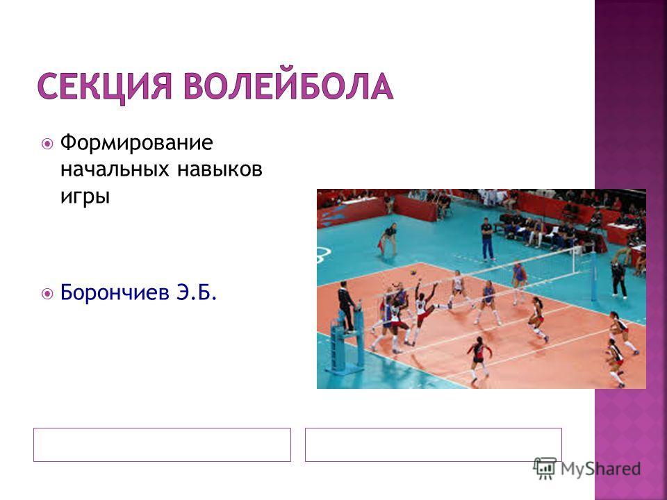 Формирование начальных навыков игры Борончиев Э.Б.